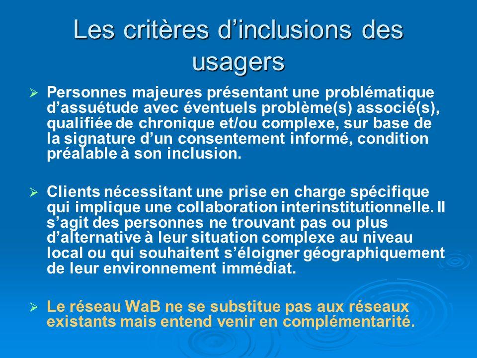 Les critères dinclusions des usagers Personnes majeures présentant une problématique dassuétude avec éventuels problème(s) associé(s), qualifiée de ch