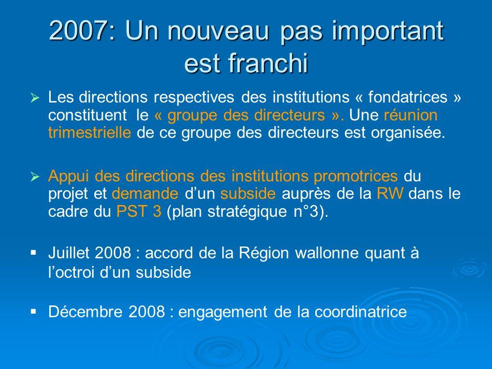 2007: Un nouveau pas important est franchi Les directions respectives des institutions « fondatrices » constituent le « groupe des directeurs ». Une r
