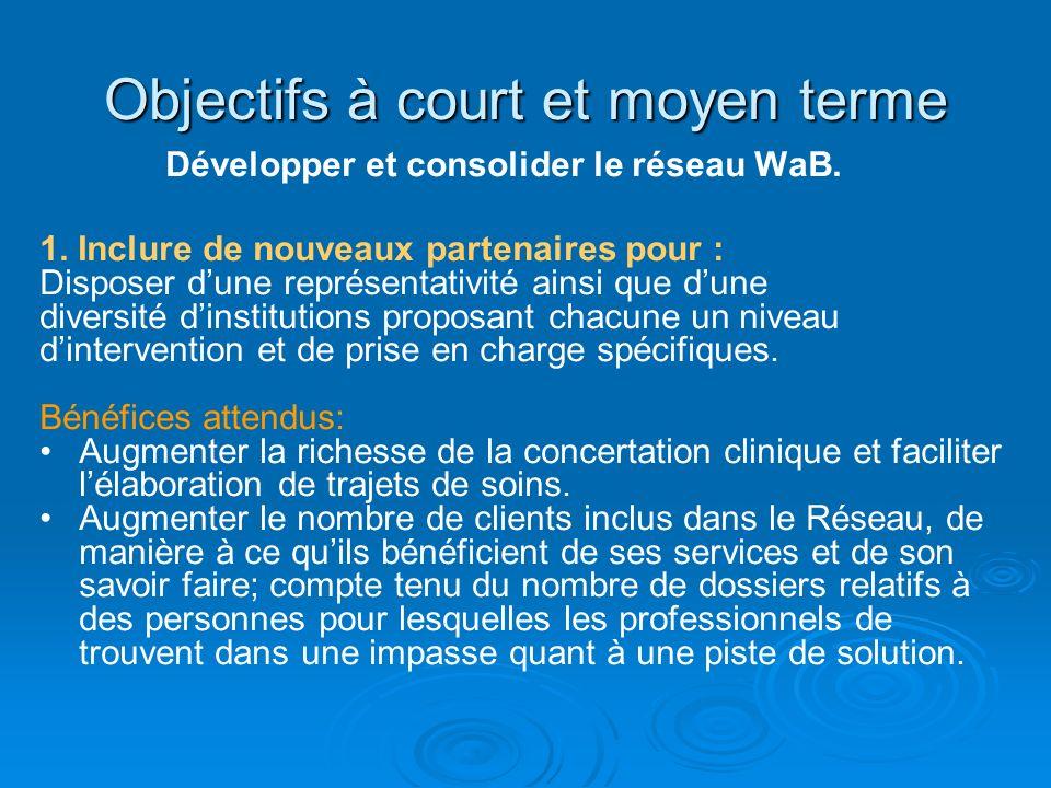 Objectifs à court et moyen terme Développer et consolider le réseau WaB. 1. Inclure de nouveaux partenaires pour : Disposer dune représentativité ains