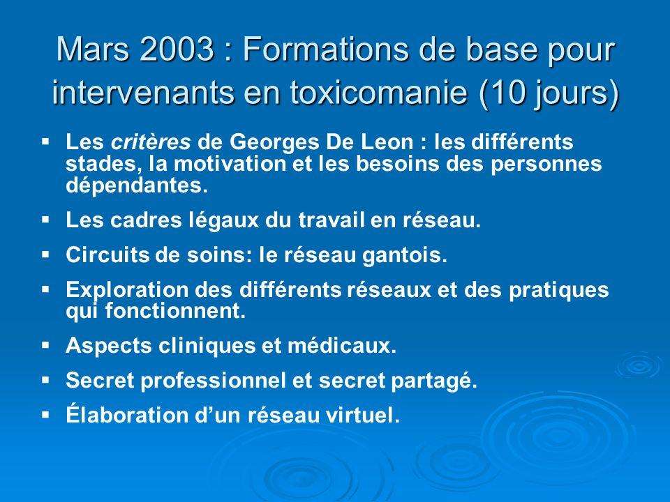 Mars 2003 : Formations de base pour intervenants en toxicomanie (10 jours) Les critères de Georges De Leon : les différents stades, la motivation et l