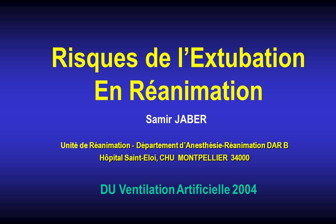 Extubation (ablation de la sonde) sevrage ventilatoire Echec de lextubation = Echec du sevrage Introduction Réintubation précoce : 24 - 72 h 2 - 25 % Surmorbidité et surmortalité (Epstein.