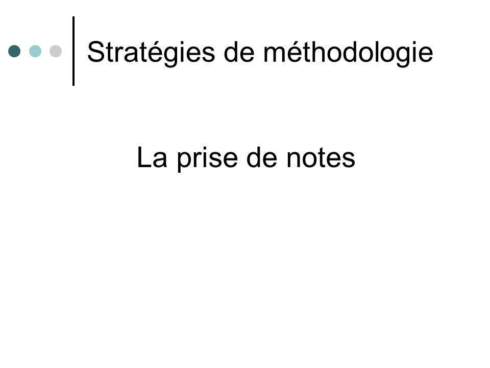 Stratégies de méthodologie La prise de notes