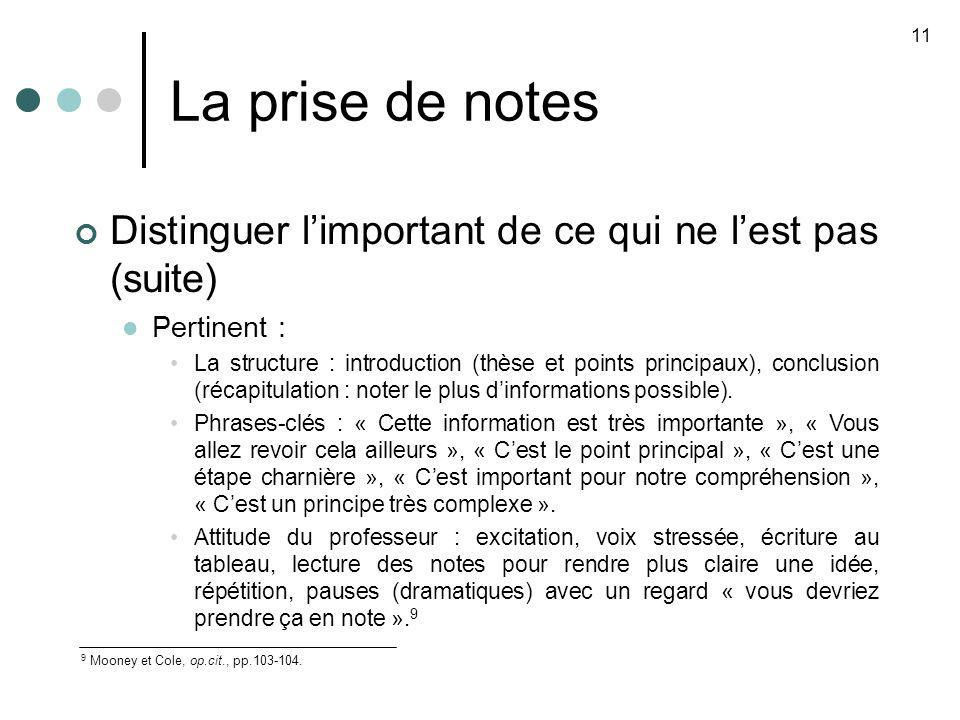 La prise de notes 11 9 Mooney et Cole, op.cit., pp.103-104. Distinguer limportant de ce qui ne lest pas (suite) Pertinent : La structure : introductio