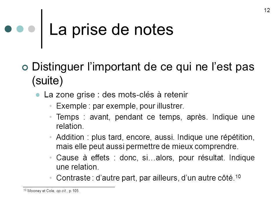 La prise de notes 12 10 Mooney et Cole, op.cit., p.105. Distinguer limportant de ce qui ne lest pas (suite) La zone grise : des mots-clés à retenir Ex