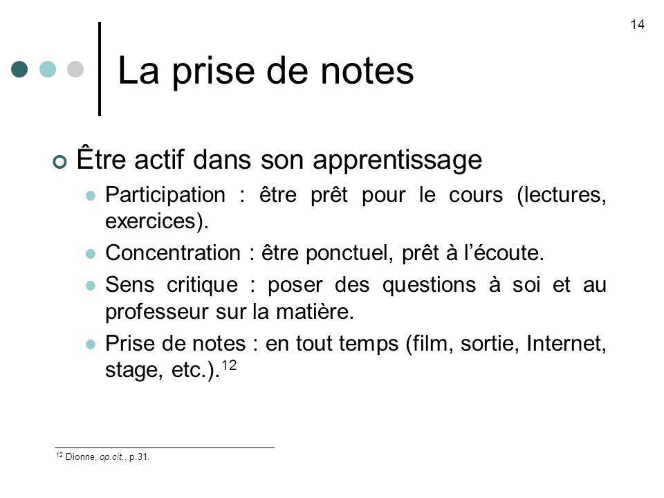 La prise de notes 14 12 Dionne, op.cit., p.31. Être actif dans son apprentissage Participation : être prêt pour le cours (lectures, exercices). Concen