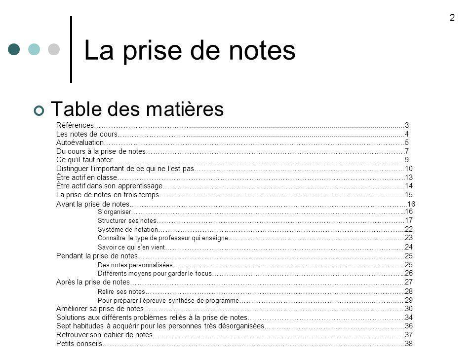 La prise de notes 23 27 Mooney et Cole, op.cit., pp.100-101.