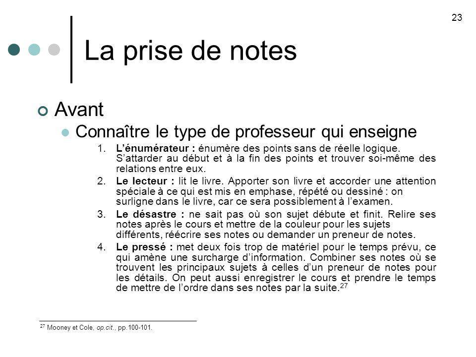 La prise de notes 23 27 Mooney et Cole, op.cit., pp.100-101. Avant Connaître le type de professeur qui enseigne 1.Lénumérateur : énumère des points sa