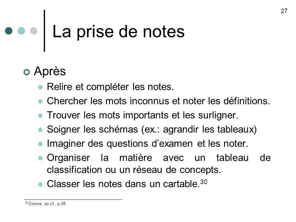 La prise de notes Après Relire et compléter les notes. Chercher les mots inconnus et noter les définitions. Trouver les mots importants et les surlign