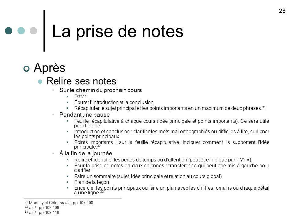 La prise de notes 28 31 Mooney et Cole, op.cit., pp.107-108. 32 Ibid., pp.108-109. 33 Ibid., pp.109-110. Après Relire ses notes Sur le chemin du proch