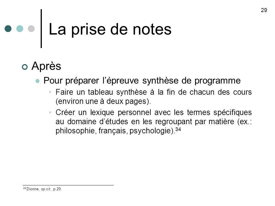 La prise de notes Après Pour préparer lépreuve synthèse de programme Faire un tableau synthèse à la fin de chacun des cours (environ une à deux pages).