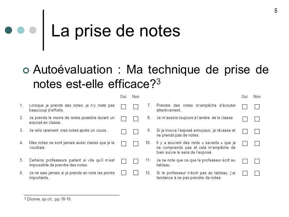 La prise de notes Autoévaluation : Ma technique de prise de notes est-elle efficace? 3 5 OuiNonOuiNon 1.Lorsque je prends des notes, je ny mets pas be