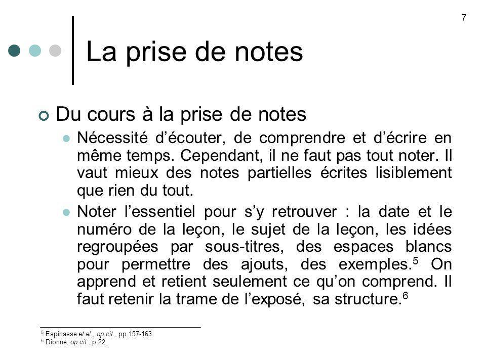 La prise de notes Du cours à la prise de notes Nécessité découter, de comprendre et décrire en même temps. Cependant, il ne faut pas tout noter. Il va