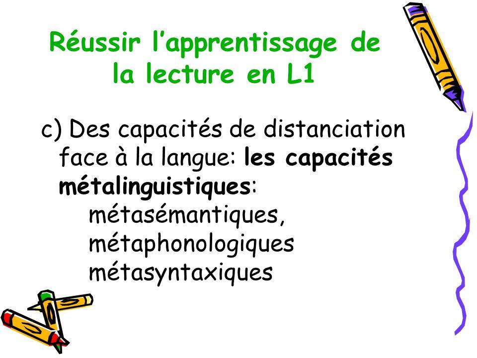 Réussir lapprentissage de la lecture en L1 c) Des capacités de distanciation face à la langue: les capacités métalinguistiques: métasémantiques, métaphonologiques métasyntaxiques