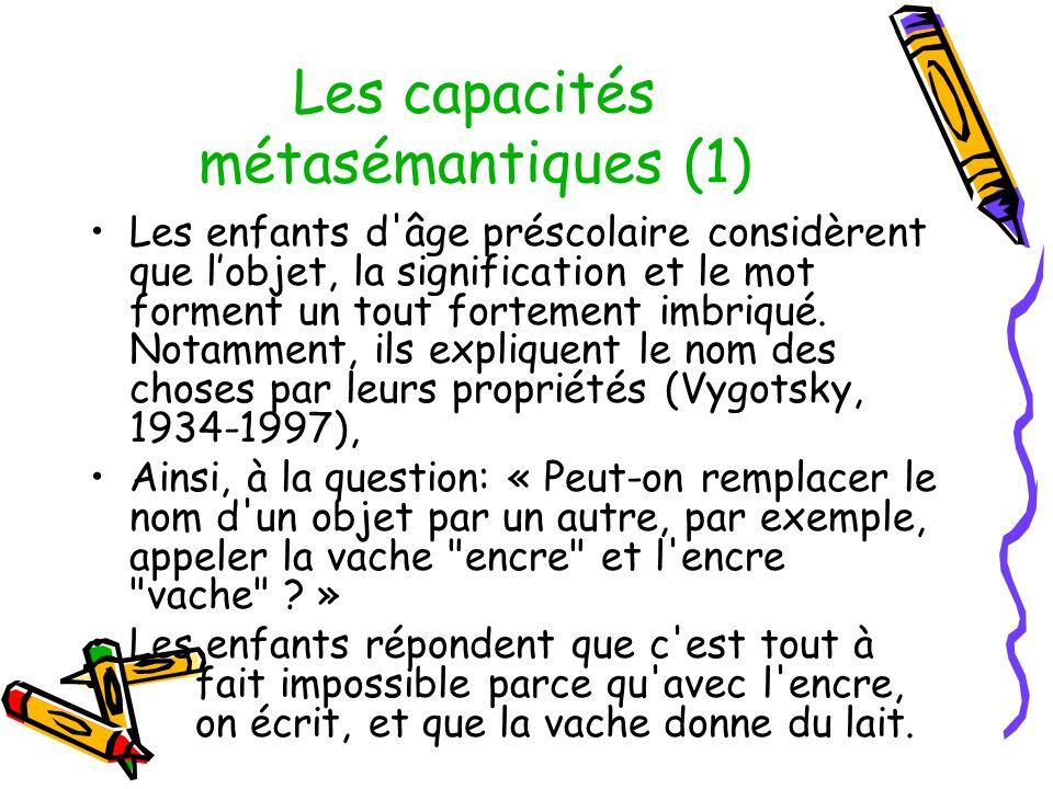 Les capacités métasémantiques (1) Les enfants d âge préscolaire considèrent que lobjet, la signification et le mot forment un tout fortement imbriqué.