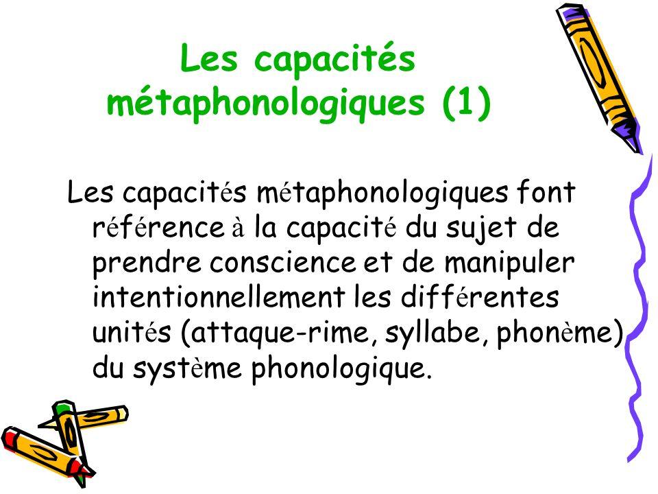 Les capacités métaphonologiques (1) Les capacit é s m é taphonologiques font r é f é rence à la capacit é du sujet de prendre conscience et de manipuler intentionnellement les diff é rentes unit é s (attaque-rime, syllabe, phon è me) du syst è me phonologique.