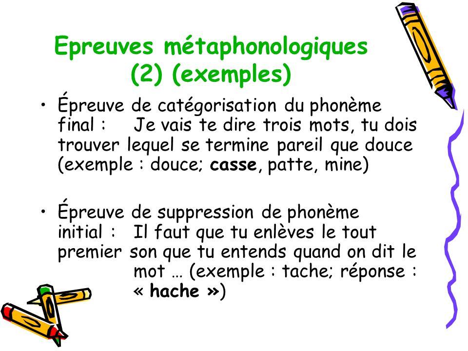 Epreuves métaphonologiques (2) (exemples) Épreuve de catégorisation du phonème final :Je vais te dire trois mots, tu dois trouver lequel se termine pareil que douce (exemple : douce; casse, patte, mine) Épreuve de suppression de phonème initial :Il faut que tu enlèves le tout premier son que tu entends quand on dit le mot … (exemple : tache; réponse : « hache »)