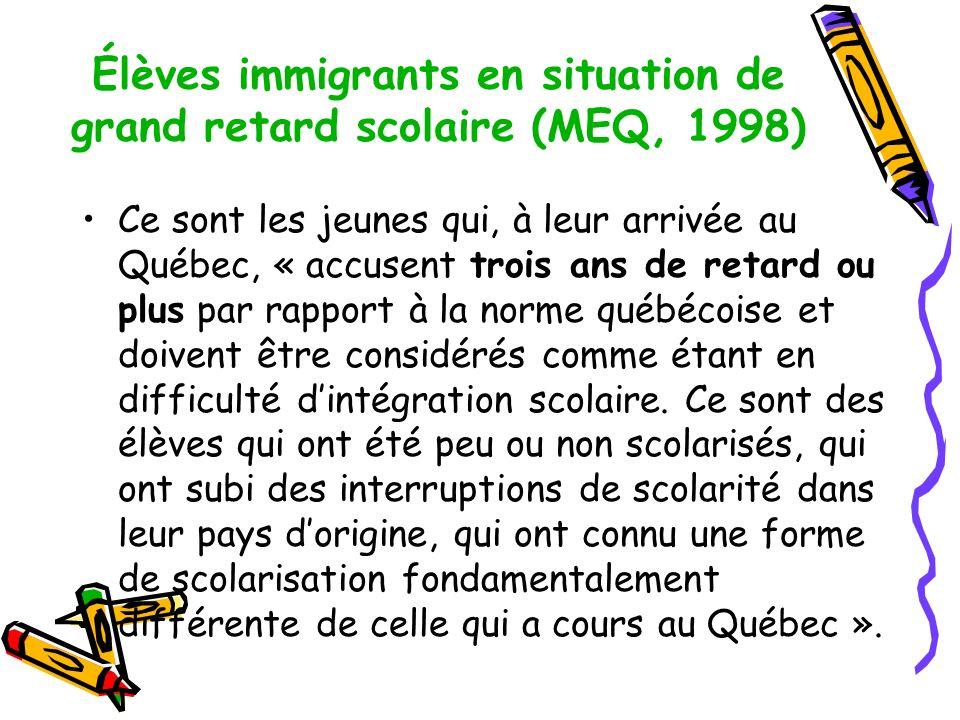 Élèves immigrants en situation de grand retard scolaire (MEQ, 1998) Ce sont les jeunes qui, à leur arrivée au Québec, « accusent trois ans de retard ou plus par rapport à la norme québécoise et doivent être considérés comme étant en difficulté dintégration scolaire.