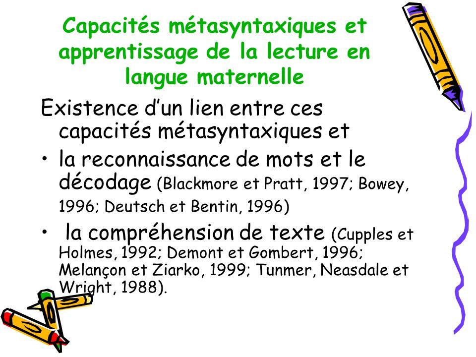 Capacités métasyntaxiques et apprentissage de la lecture en langue maternelle Existence dun lien entre ces capacités métasyntaxiques et la reconnaissance de mots et le décodage (Blackmore et Pratt, 1997; Bowey, 1996; Deutsch et Bentin, 1996) la compréhension de texte (Cupples et Holmes, 1992; Demont et Gombert, 1996; Melançon et Ziarko, 1999; Tunmer, Neasdale et Wright, 1988).