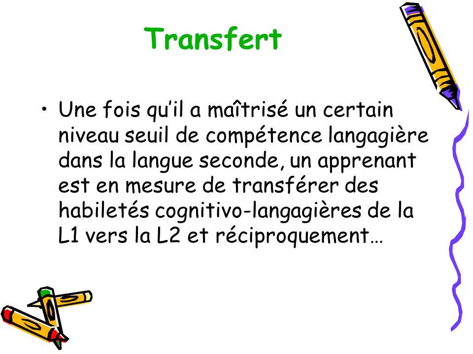 Transfert Une fois quil a maîtrisé un certain niveau seuil de compétence langagière dans la langue seconde, un apprenant est en mesure de transférer des habiletés cognitivo-langagières de la L1 vers la L2 et réciproquement…