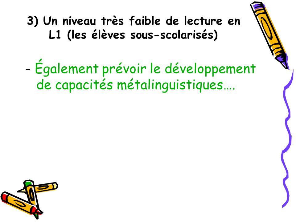 3) Un niveau très faible de lecture en L1 (les élèves sous-scolarisés) - Également prévoir le développement de capacités métalinguistiques….