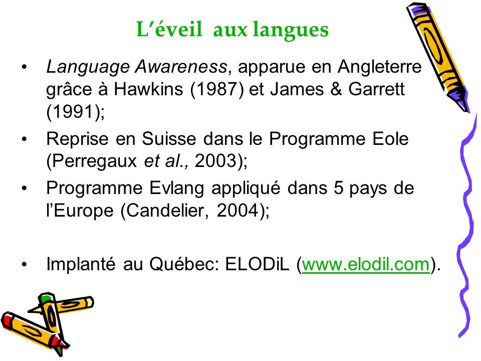 Léveil aux langues Language Awareness, apparue en Angleterre grâce à Hawkins (1987) et James & Garrett (1991); Reprise en Suisse dans le Programme Eole (Perregaux et al., 2003); Programme Evlang appliqué dans 5 pays de lEurope (Candelier, 2004); Implanté au Québec: ELODiL (www.elodil.com).www.elodil.com