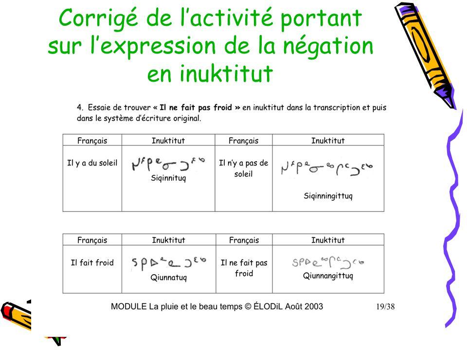 Corrigé de lactivité portant sur lexpression de la négation en inuktitut