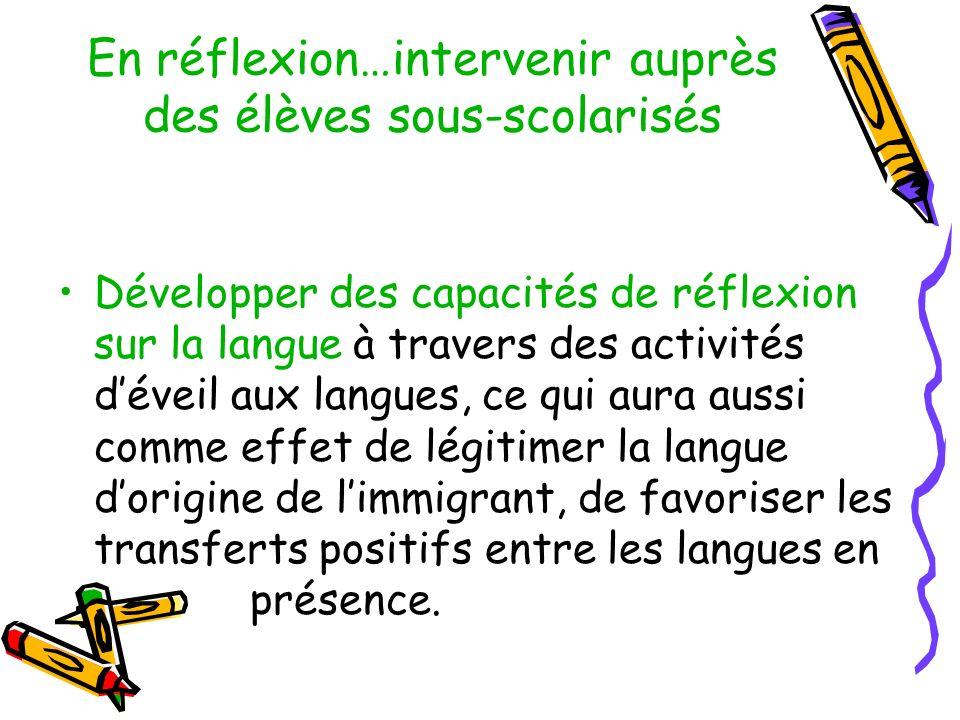 En réflexion…intervenir auprès des élèves sous-scolarisés Développer des capacités de réflexion sur la langue à travers des activités déveil aux langues, ce qui aura aussi comme effet de légitimer la langue dorigine de limmigrant, de favoriser les transferts positifs entre les langues en présence.