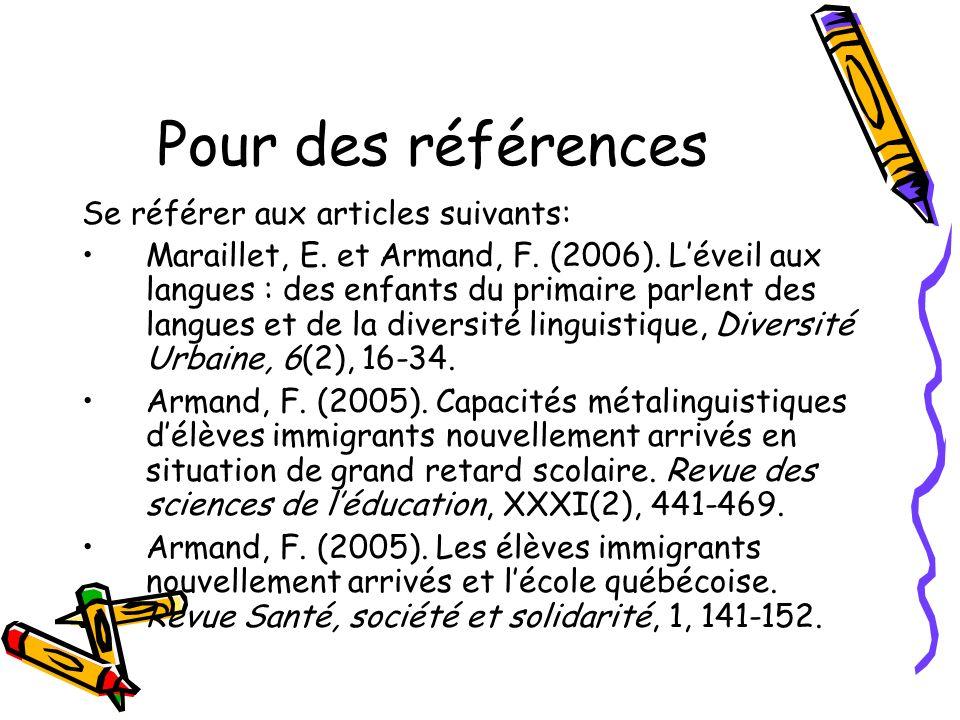 Pour des références Se référer aux articles suivants: Maraillet, E.