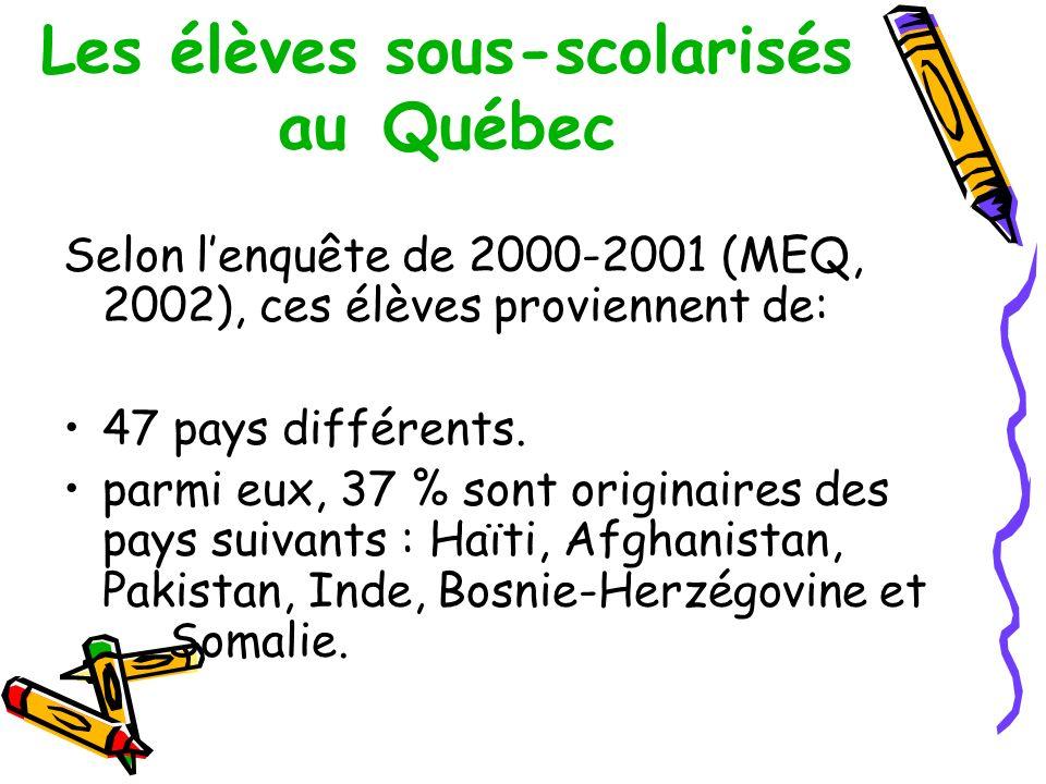 Les élèves sous-scolarisés au Québec Selon lenquête de 2000-2001 (MEQ, 2002), ces élèves proviennent de: 47 pays différents.