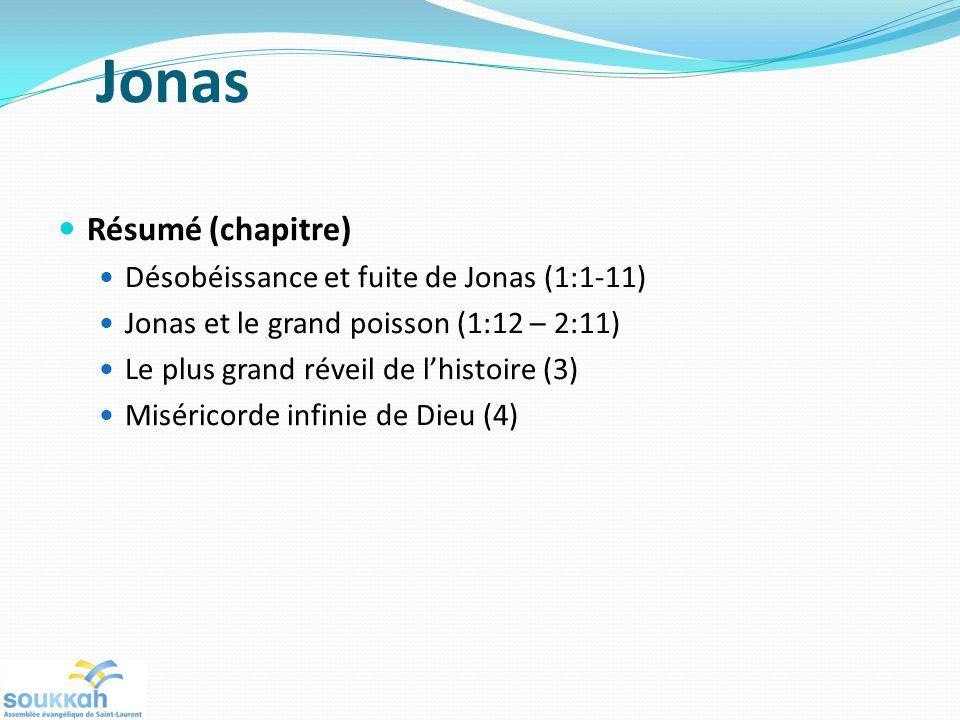 Jonas Résumé (chapitre) Désobéissance et fuite de Jonas (1:1-11) Jonas et le grand poisson (1:12 – 2:11) Le plus grand réveil de lhistoire (3) Miséricorde infinie de Dieu (4)