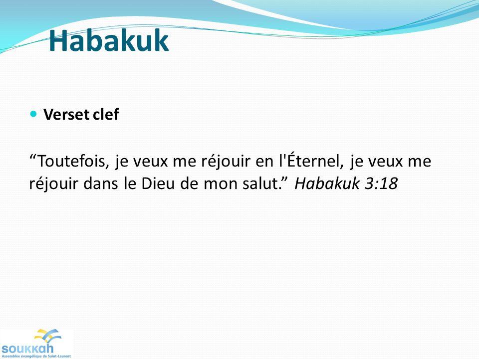 Habakuk Verset clef Toutefois, je veux me réjouir en l'Éternel, je veux me réjouir dans le Dieu de mon salut. Habakuk 3:18