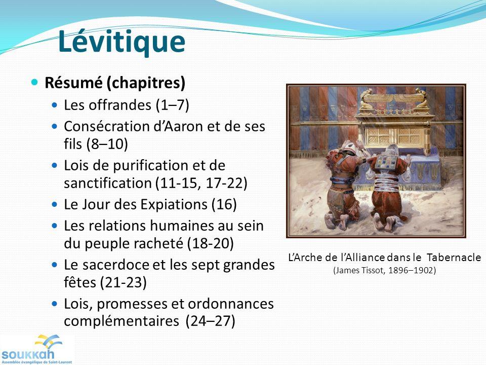 Résumé (chapitres) Les offrandes (1–7) Consécration dAaron et de ses fils (8–10) Lois de purification et de sanctification (11-15, 17-22) Le Jour des