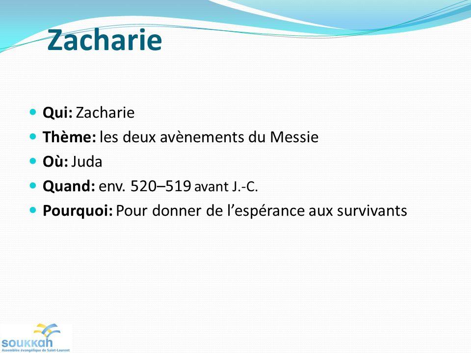 Zacharie Qui: Zacharie Thème: les deux avènements du Messie Où: Juda Quand: env. 520–519 avant J.-C. Pourquoi: Pour donner de lespérance aux survivant