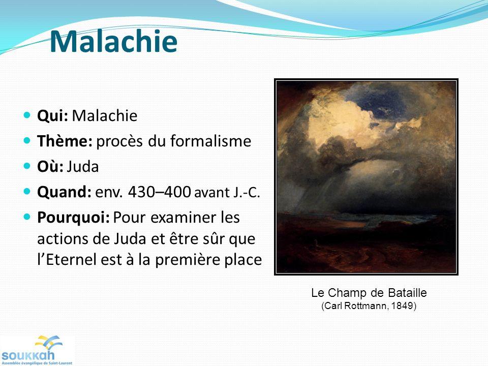 Malachie Qui: Malachie Thème: procès du formalisme Où: Juda Quand: env. 430–400 avant J.-C. Pourquoi: Pour examiner les actions de Juda et être sûr qu
