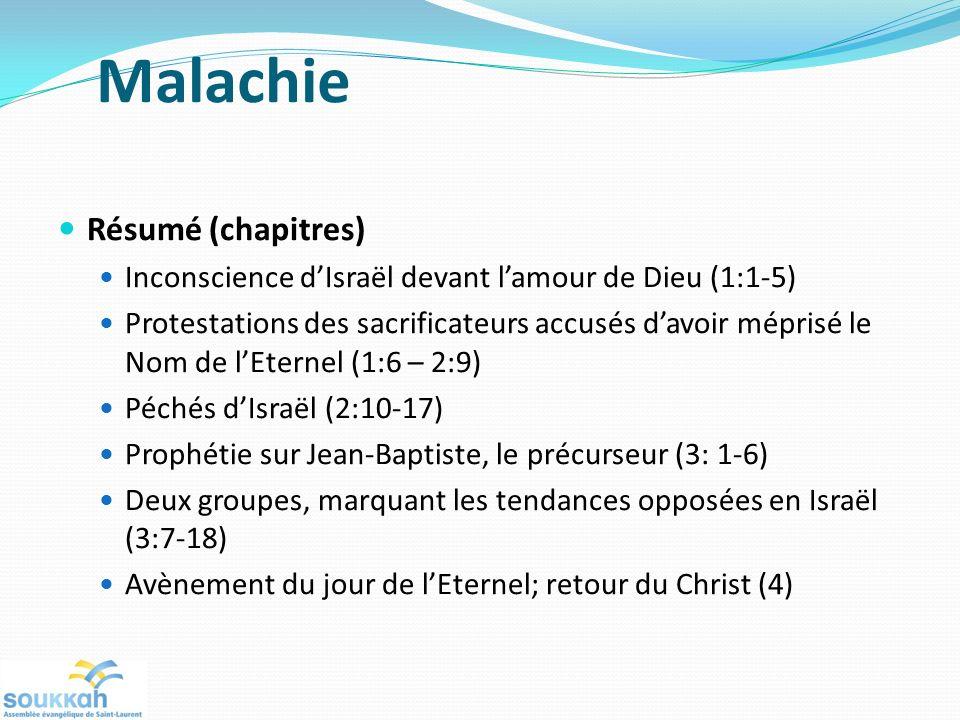 Malachie Résumé (chapitres) Inconscience dIsraël devant lamour de Dieu (1:1-5) Protestations des sacrificateurs accusés davoir méprisé le Nom de lEternel (1:6 – 2:9) Péchés dIsraël (2:10-17) Prophétie sur Jean-Baptiste, le précurseur (3: 1-6) Deux groupes, marquant les tendances opposées en Israël (3:7-18) Avènement du jour de lEternel; retour du Christ (4)