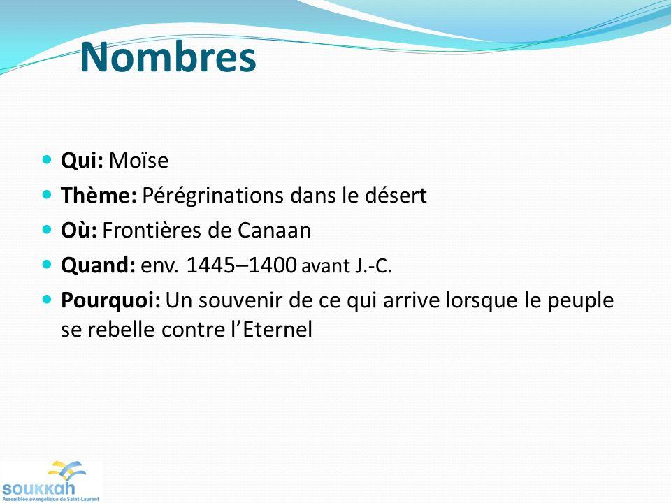 Nombres Qui: Moïse Thème: Pérégrinations dans le désert Où: Frontières de Canaan Quand: env.