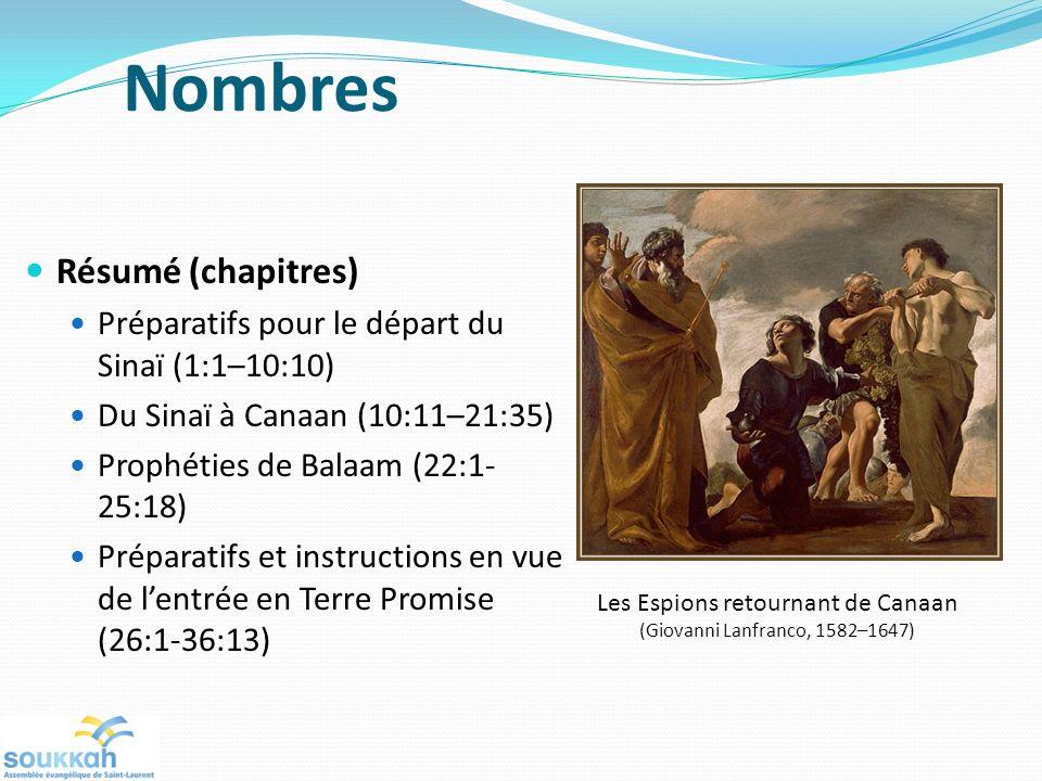 Résumé (chapitres) Préparatifs pour le départ du Sinaï (1:1–10:10) Du Sinaï à Canaan (10:11–21:35) Prophéties de Balaam (22:1- 25:18) Préparatifs et instructions en vue de lentrée en Terre Promise (26:1-36:13) Les Espions retournant de Canaan (Giovanni Lanfranco, 1582–1647) Nombres