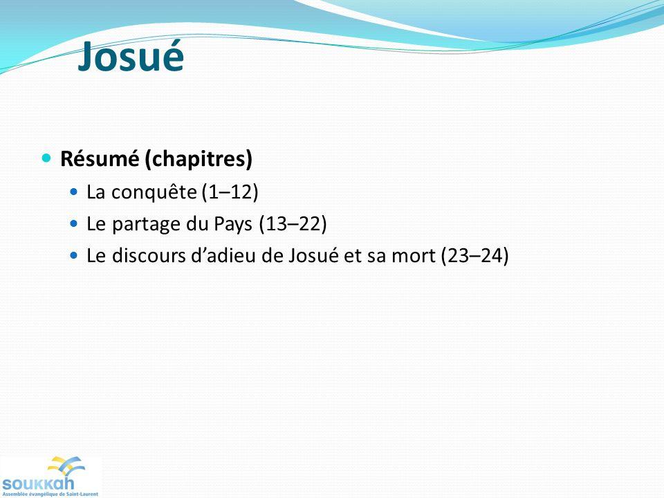 Josué Résumé (chapitres) La conquête (1–12) Le partage du Pays (13–22) Le discours dadieu de Josué et sa mort (23–24)