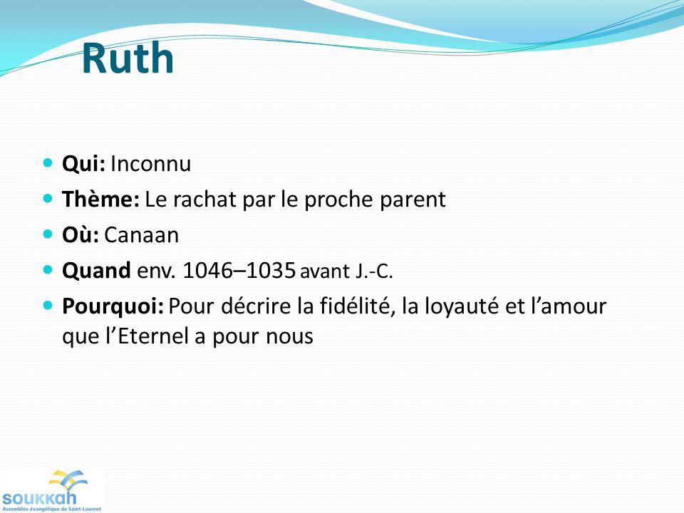 Ruth Qui: Inconnu Thème: Le rachat par le proche parent Où: Canaan Quand env. 1046–1035 avant J.-C. Pourquoi: Pour décrire la fidélité, la loyauté et