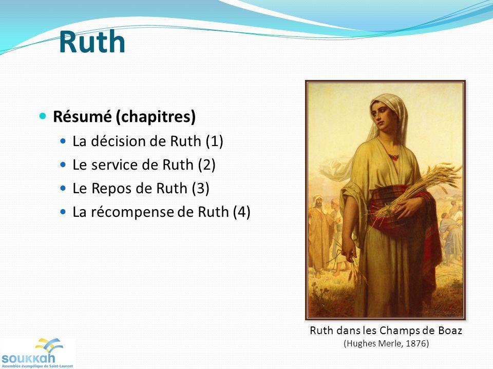 Résumé (chapitres) La décision de Ruth (1) Le service de Ruth (2) Le Repos de Ruth (3) La récompense de Ruth (4) Ruth dans les Champs de Boaz (Hughes