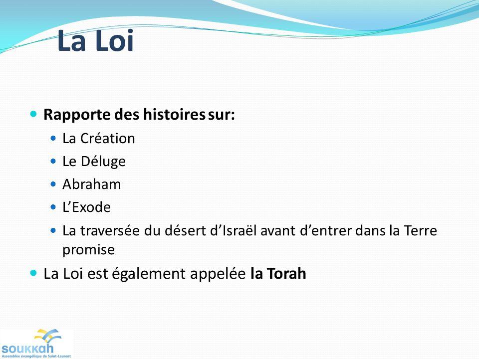 La Loi Rapporte des histoires sur: La Création Le Déluge Abraham LExode La traversée du désert dIsraël avant dentrer dans la Terre promise La Loi est également appelée la Torah