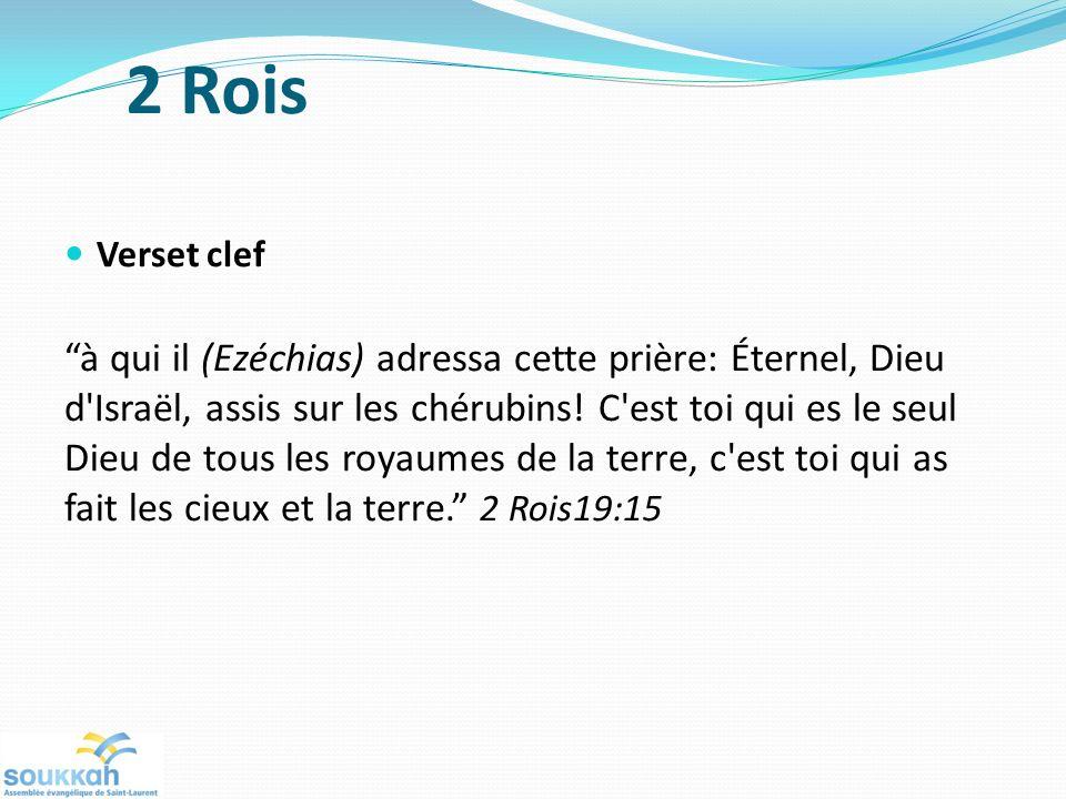 Verset clef à qui il (Ezéchias) adressa cette prière: Éternel, Dieu d'Israël, assis sur les chérubins! C'est toi qui es le seul Dieu de tous les royau