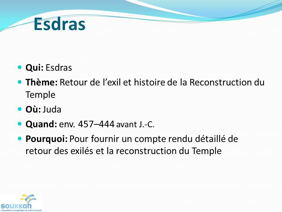 Esdras Qui: Esdras Thème: Retour de lexil et histoire de la Reconstruction du Temple Où: Juda Quand: env. 457–444 avant J.-C. Pourquoi: Pour fournir u