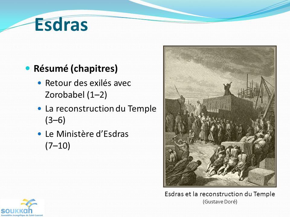 Esdras Résumé (chapitres) Retour des exilés avec Zorobabel (1–2) La reconstruction du Temple (3–6) Le Ministère dEsdras (7–10) Esdras et la reconstruc