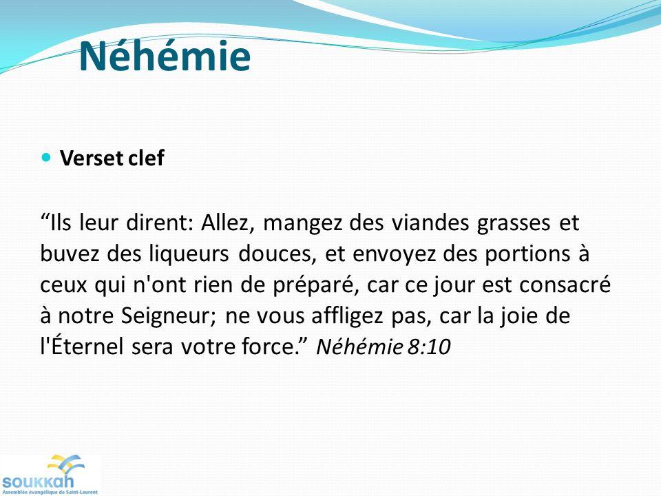 Néhémie Verset clef Ils leur dirent: Allez, mangez des viandes grasses et buvez des liqueurs douces, et envoyez des portions à ceux qui n'ont rien de