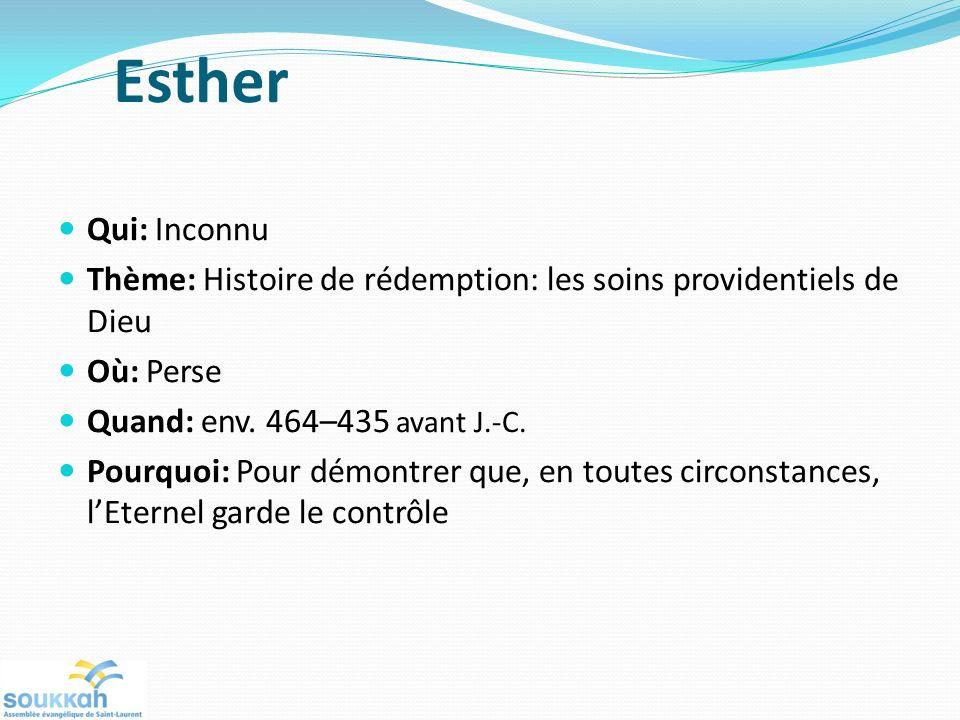 Esther Qui: Inconnu Thème: Histoire de rédemption: les soins providentiels de Dieu Où: Perse Quand: env. 464–435 avant J.-C. Pourquoi: Pour démontrer