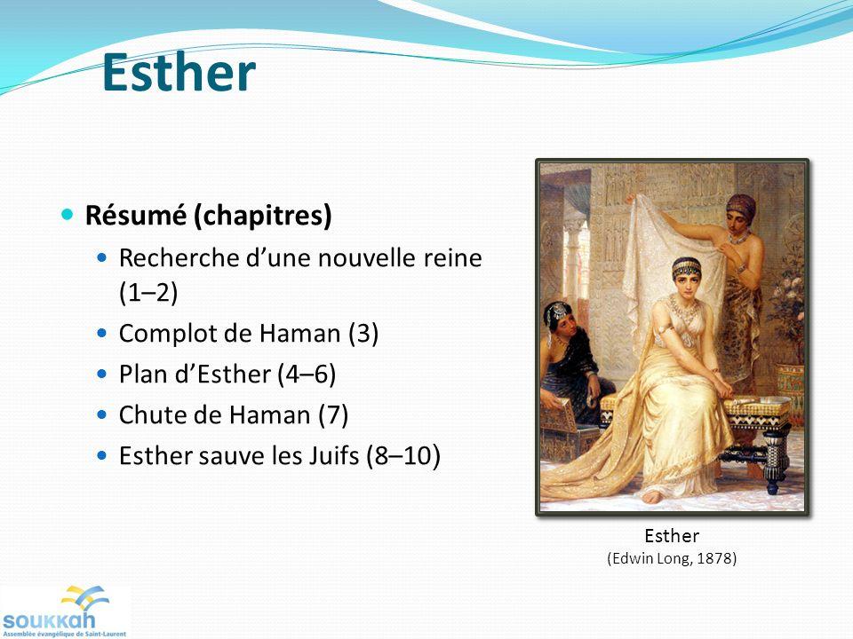 Esther Résumé (chapitres) Recherche dune nouvelle reine (1–2) Complot de Haman (3) Plan dEsther (4–6) Chute de Haman (7) Esther sauve les Juifs (8–10 ) Esther (Edwin Long, 1878)