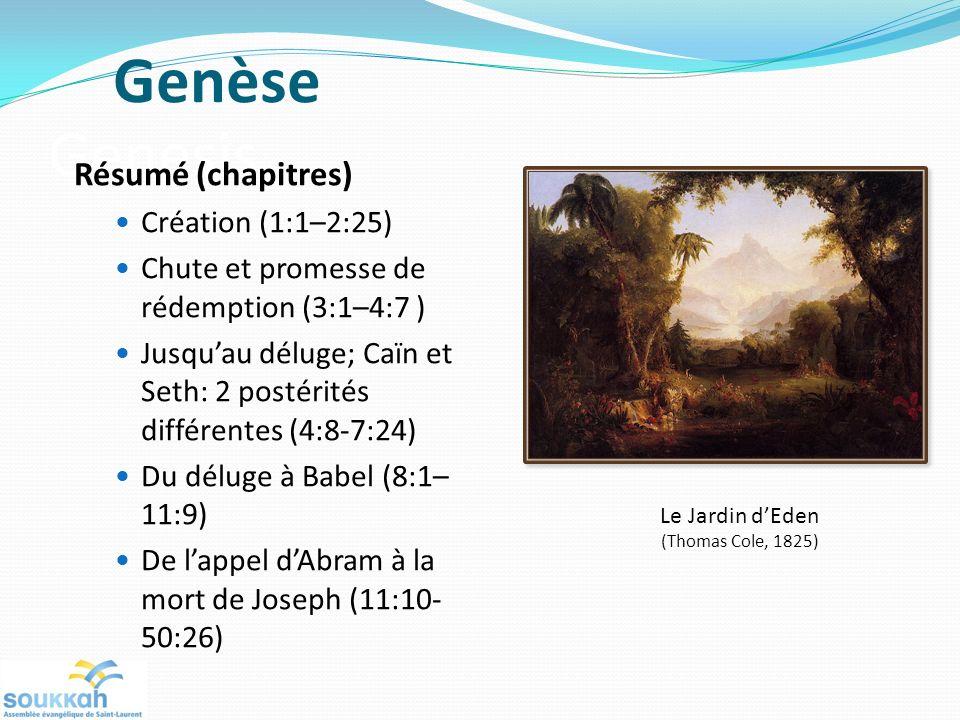 Genesis Résumé (chapitres) Création (1:1–2:25) Chute et promesse de rédemption (3:1–4:7 ) Jusquau déluge; Caïn et Seth: 2 postérités différentes (4:8-7:24) Du déluge à Babel (8:1– 11:9) De lappel dAbram à la mort de Joseph (11:10- 50:26) Le Jardin dEden (Thomas Cole, 1825) Genèse