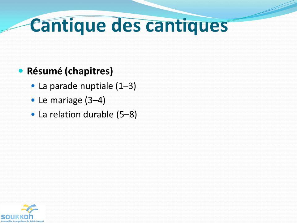 Cantique des cantiques Résumé (chapitres) La parade nuptiale (1–3) Le mariage (3–4) La relation durable (5–8)