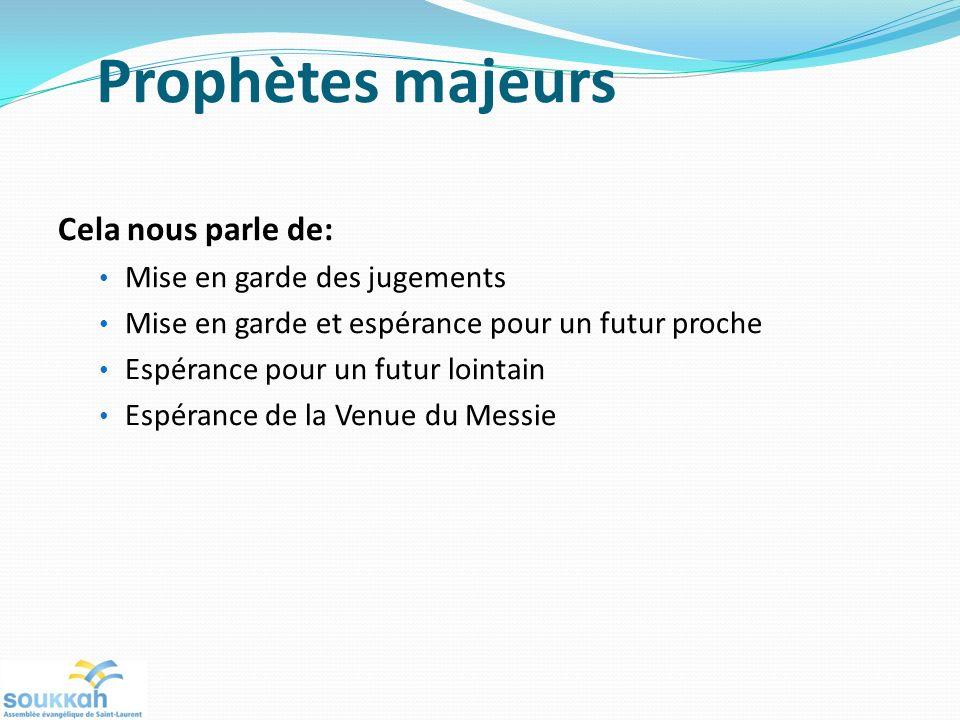 Prophètes majeurs Cela nous parle de: Mise en garde des jugements Mise en garde et espérance pour un futur proche Espérance pour un futur lointain Esp